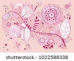 flora. hand drawn doodle | Shutterstock .eps vector #1022588338