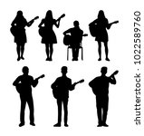 guitarists  vector silhouettes | Shutterstock .eps vector #1022589760