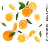 top view of orange juice in a... | Shutterstock . vector #1022589934