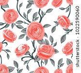rose and roses seamless pattern | Shutterstock .eps vector #1022590060