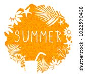 summer orange ragged circle... | Shutterstock .eps vector #1022590438