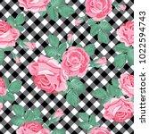 floral seamless pattern. pink... | Shutterstock .eps vector #1022594743