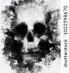 watercolor skull. spooky... | Shutterstock . vector #1022598670