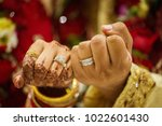 groom and bride holding showing ... | Shutterstock . vector #1022601430