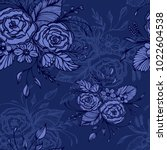 seamless pattern with flowers... | Shutterstock .eps vector #1022604538