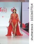 Small photo of New York, NY - February 8, 2018: Adrienne Houghton Bailon wearing gown by Galia Lahav walks runway for Red Dress 2018 Collection Fashion Show at Hammerstein Ballroom