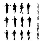 vector set of gesturing woman | Shutterstock .eps vector #1022608360