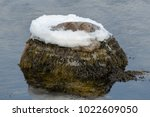 A Rock Sits In The Water With...