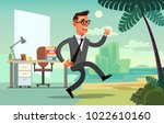 office worker character run to... | Shutterstock .eps vector #1022610160