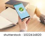 confirmed smartphone order... | Shutterstock . vector #1022616820