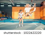 two sisters bouncing in the... | Shutterstock . vector #1022622220