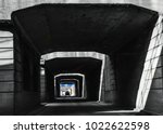 Small photo of Driving in tunnel downtown Cincinnati on Gest street