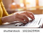 woman working at home office... | Shutterstock . vector #1022625904