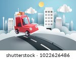 escape from the city  paper art ... | Shutterstock .eps vector #1022626486