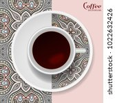 cup of coffee with colorful...   Shutterstock .eps vector #1022632426