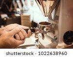 barista use grider make a... | Shutterstock . vector #1022638960