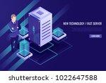 server room rack  data center ... | Shutterstock .eps vector #1022647588
