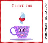 i love you card with cute lilac ... | Shutterstock .eps vector #1022652640
