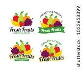 fresh fruits logo design vector ... | Shutterstock .eps vector #1022653399