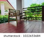 side view wooden chair in the... | Shutterstock . vector #1022653684