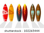 set of surf boards with... | Shutterstock . vector #102265444