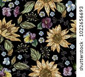 embroidery floral seamless... | Shutterstock .eps vector #1022656693