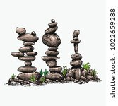 rock balancing or stone... | Shutterstock .eps vector #1022659288