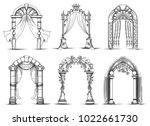 wedding arches sketch. vintage... | Shutterstock .eps vector #1022661730