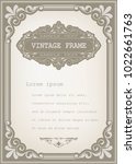 vintage frame with beautiful... | Shutterstock .eps vector #1022661763