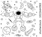 funny astronaut standing on... | Shutterstock .eps vector #1022664583