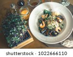 mussels seafood cooked in... | Shutterstock . vector #1022666110