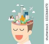 head full of dreams. future... | Shutterstock .eps vector #1022666470