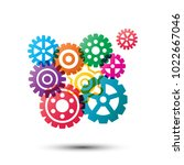 colorful gear wheels... | Shutterstock .eps vector #1022667046