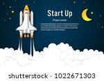 rocket launch flying  half moon ... | Shutterstock .eps vector #1022671303