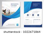Template vector design for Brochure, AnnualReport, Magazine, Poster, Corporate Presentation, Portfolio, Flyer, infographic, layout modern with blue color size A4, Front and back, Easy to use and edit. | Shutterstock vector #1022671864