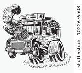 food truck hot rod big machine... | Shutterstock .eps vector #1022676508