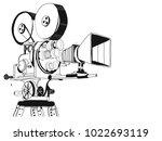 retro cinema video camera with...