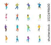 isometric dancing people... | Shutterstock .eps vector #1022698600