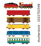colorful vector wagons for a... | Shutterstock .eps vector #1022702548