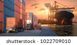 logistics and transportation of ... | Shutterstock . vector #1022709010