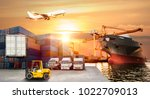 logistics and transportation of ... | Shutterstock . vector #1022709013