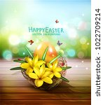 vector illustration. easter... | Shutterstock .eps vector #1022709214