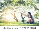 happy father and daughter... | Shutterstock . vector #1022710078