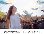 portrait of happy young woman... | Shutterstock . vector #1022715148