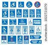 accesible parking signs ... | Shutterstock .eps vector #1022721070