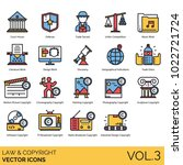 law   copyright icons. court ... | Shutterstock .eps vector #1022721724