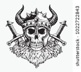 cursed viking skull and two... | Shutterstock .eps vector #1022722843