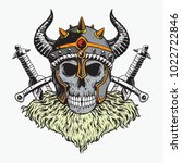 cursed viking skull and two... | Shutterstock .eps vector #1022722846