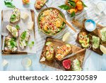 top view vegetarian table with... | Shutterstock . vector #1022730589