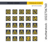 road sign icon set | Shutterstock .eps vector #1022736760